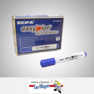 Marcador p/pizarra pta cuadrada easy wipe azul beifa