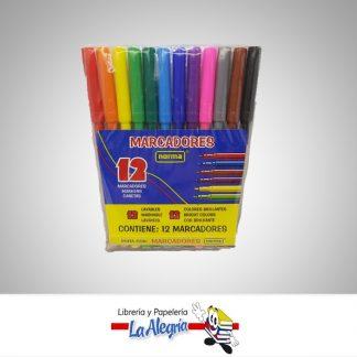 marcador esccolar 12 colores pta fina norma