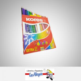 Lapices de colores 24 colores triangulares con sacapunta kores